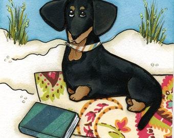 Beach Weenies #1, dachshund dog art print