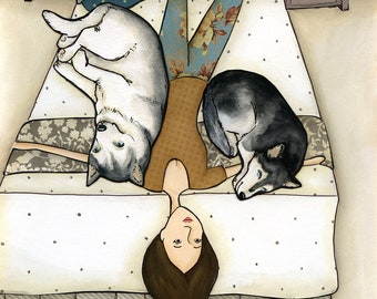Huskies On Me, art print