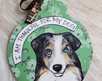 Australian Shepherd, handpainted dog ornament