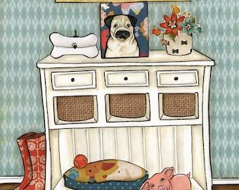 I'll Be There - Pug, art print