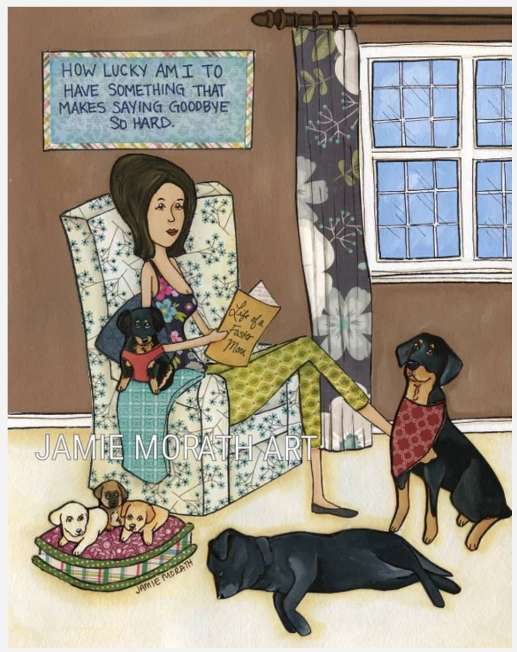 Lucky Am I How Lucky Am I Quote Art Print Foster Mom Dog Gifts