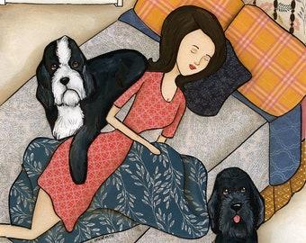 Doodle Nap- Original mixed media painting