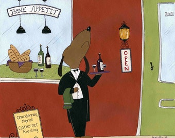 Bone Appetite, dachshund dog art print