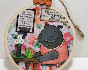 Just a Girl, hippo ornament