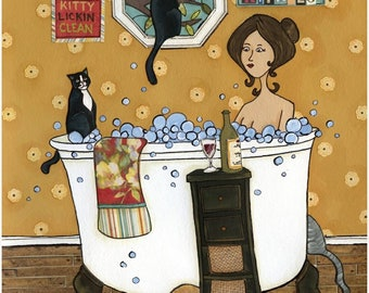 Wash Your Kitties, art print