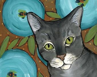 Three Blue Poppies, cat art print