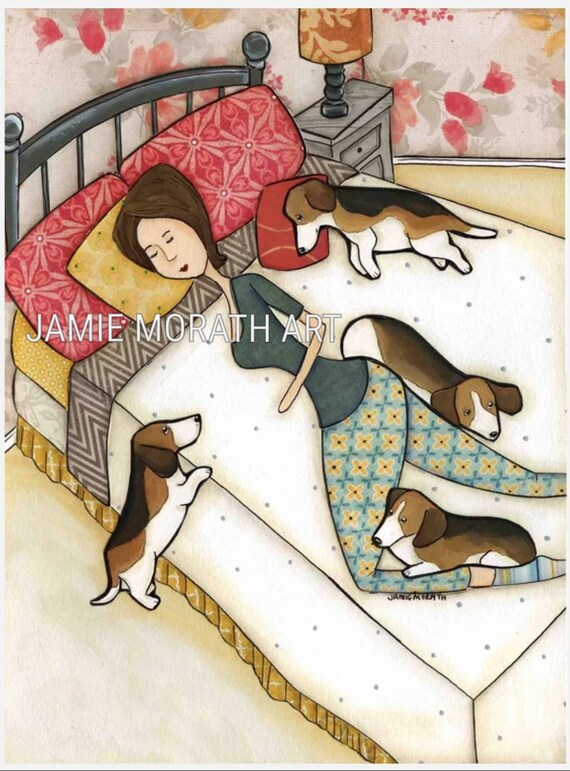 Bett Von Beagle Chihuahua Hund Kunst Druck Auf Holz Ornament Etsy