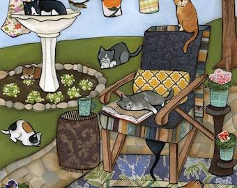 Sunbathing, cat art print