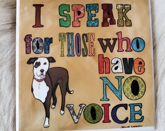 Speak For Those coaster, tripod pitbull rescue dog