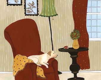 Lonely Labrador, dog art print
