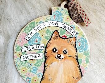 Pomeranian, handpainted dog ornament