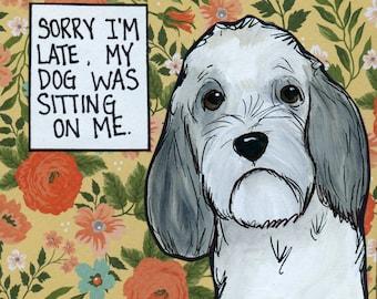 I'm late, dog art print