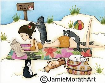 Pussycat Beach, cat wall art