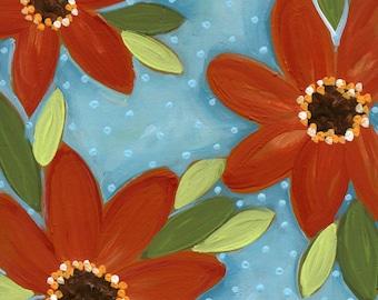 Red Sunshine, flower art print