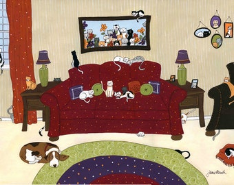 50 Cats and a Basset, pet art print