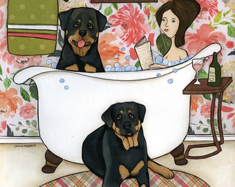 Rottweiler In The Tub- original mixed media painting