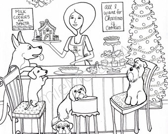 Christmas Cookies, coloring pages, digital download