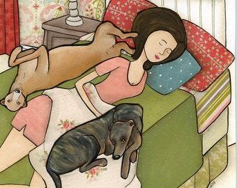 Greyhound Cuddles DISCOUNTED PRINTS