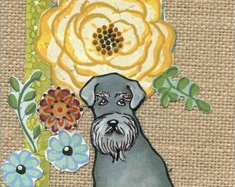 Burlap Schnauzer , dog art print