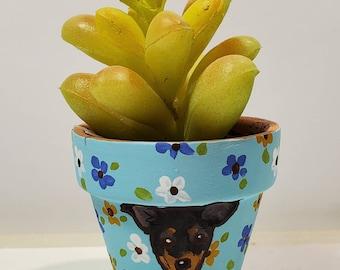Min Pin mini pot with artificial succulent