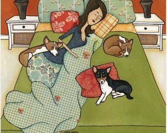 Basenji Goodnight, dog art print