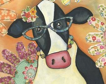 Cow Alice Flower, art print