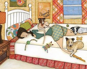 Sleeping Heeler, art print