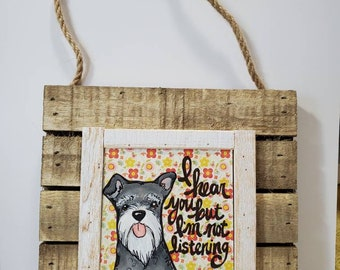 Schnauzer, One of a Kind Original painting on wood