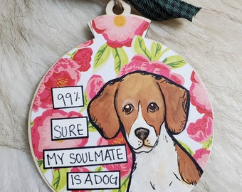 Brittany, handpainted dog ornament
