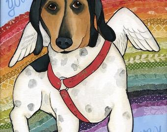 My Heart, dachshund dog art print