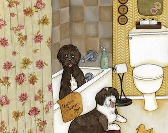 Washin Water Dogs, Portuguese water dog art print