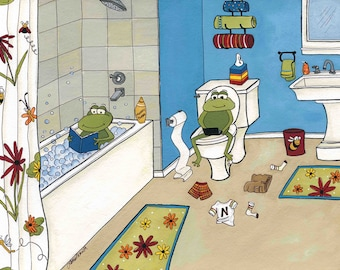 Froggie Bath, frog bathroom art print