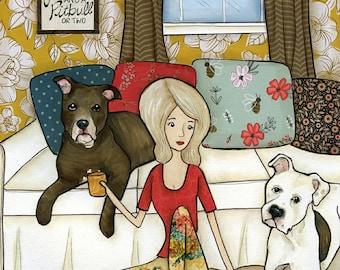 Love And A Pitbull, art print