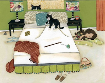 Nowhere To Hide, cat art print