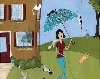 Raining Cat and Flippin Dogs, art print
