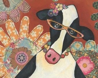 Cow Ethal Flower, art print