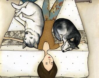 Huskies On me- original mixed media painting