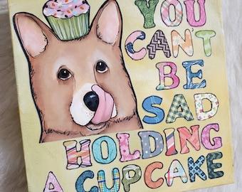 Corgi, cupcake Original art painting on canvas