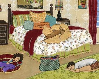I Long For You, dachshund dog art print