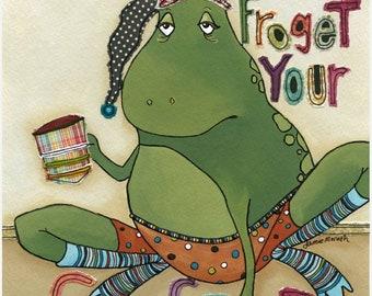 Froget Coffee, frog art print