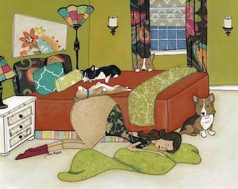 Corgi Love, dog art print