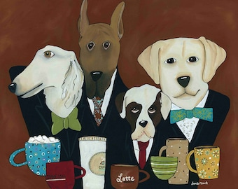Dogs on a Wire, dog art print