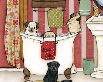Pug Popcorn Bath DISCOUNTED PRINTS