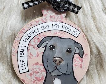 Pitbull dog ornament