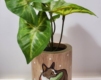 French Bulldog wooden planter with artificial plant