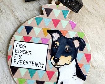 Rat Terrier, handpainted dog ornament