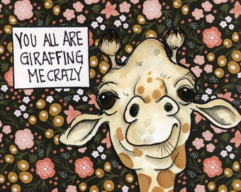 Giraffing, art print