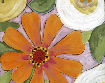 Orange Pop, flower art print