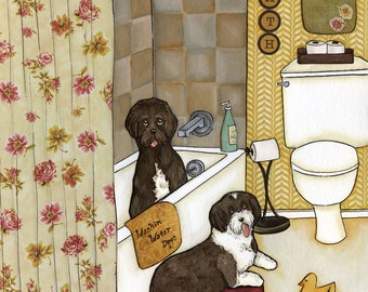 Washin Water Dogs- Original mixed media painting