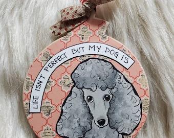 Gray Poodle ornament